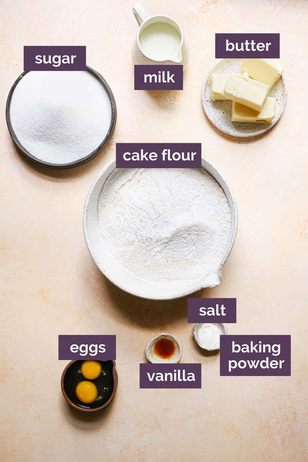 Ingredients for the cookies with purple labels for each ingredient.