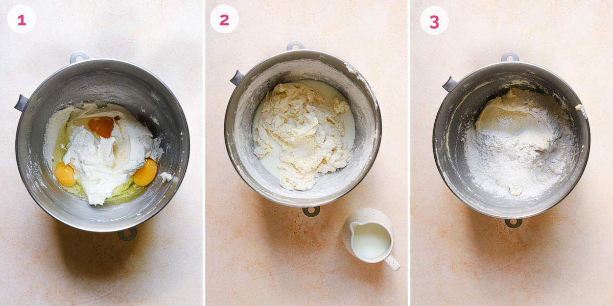 Three side by side photos showing the steps to make the cookie dough in a mixing bowl.