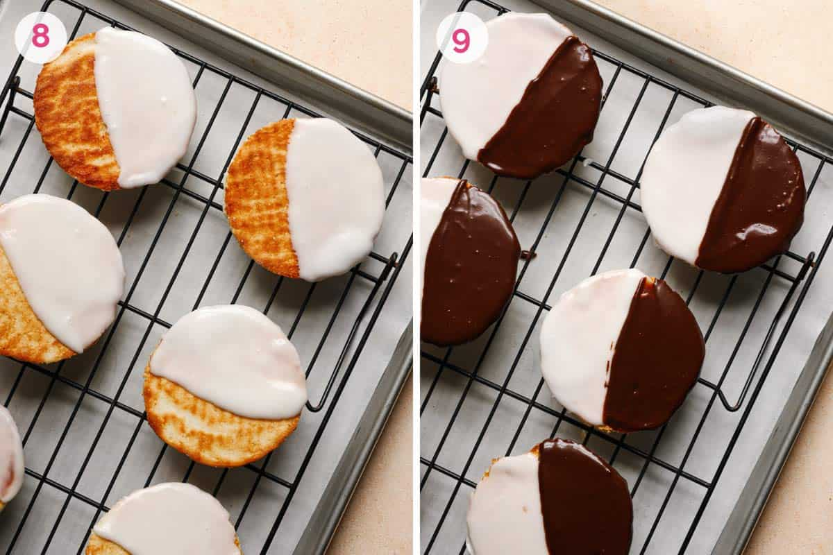 Two side by side photos of the steps for icing the black and white cookies.