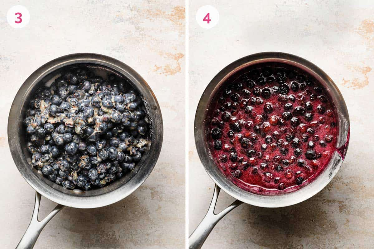Side by side photos of cooking the blueberries to make the jam.