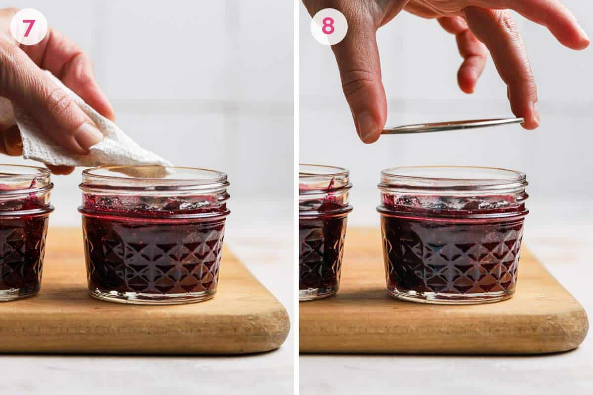 Side by side photos of how to clean and close the jars before canning.