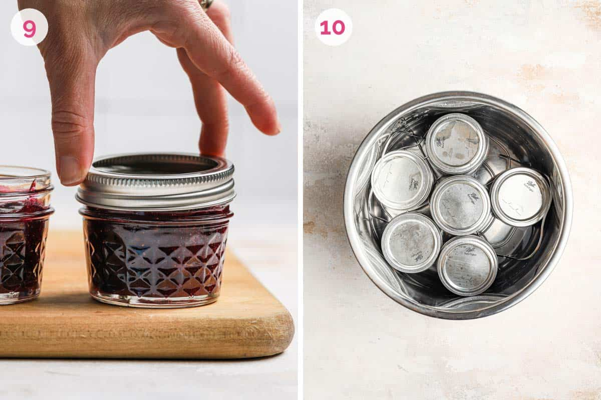 Side by side photos of closing the blueberry jam jar and canning them in a pot.