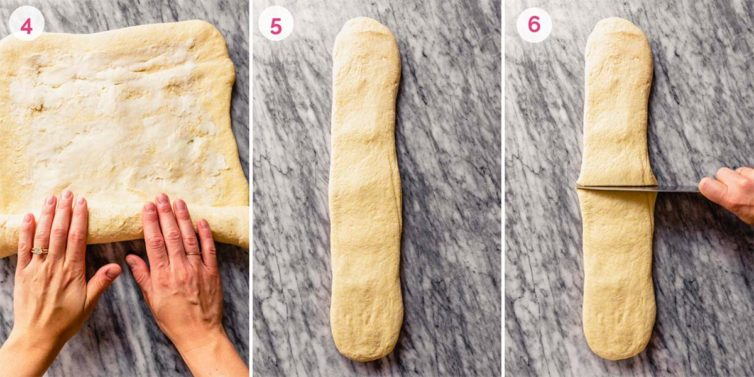 Two hands rolling the dough on the left, a dough log in the middle, and a hand cutting the dough to the right.