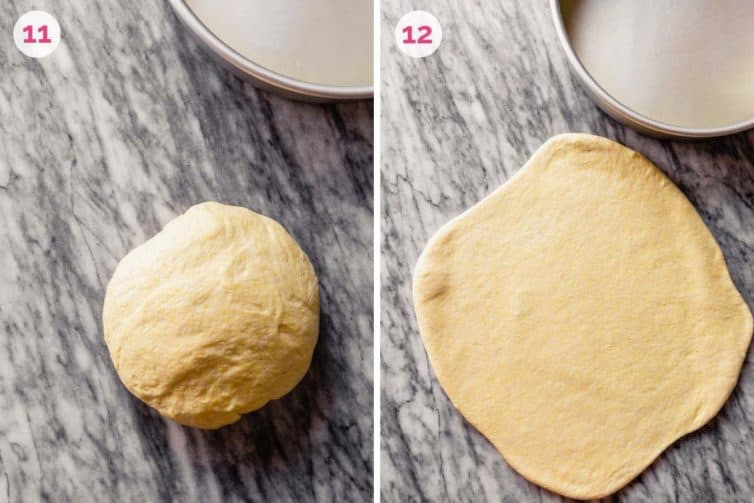 Dough after rising on the left and dough rolled out into a circle on the right.
