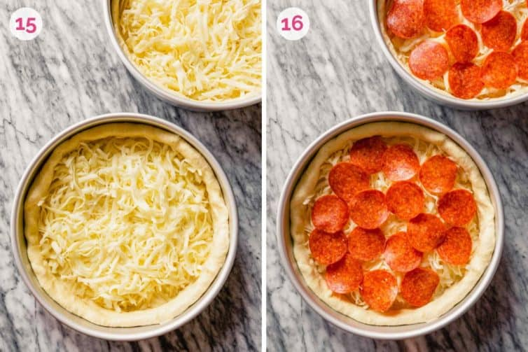 Deep dish pizza dough with cheese on the left and deep dish pizza topped with pepperoni on the right.