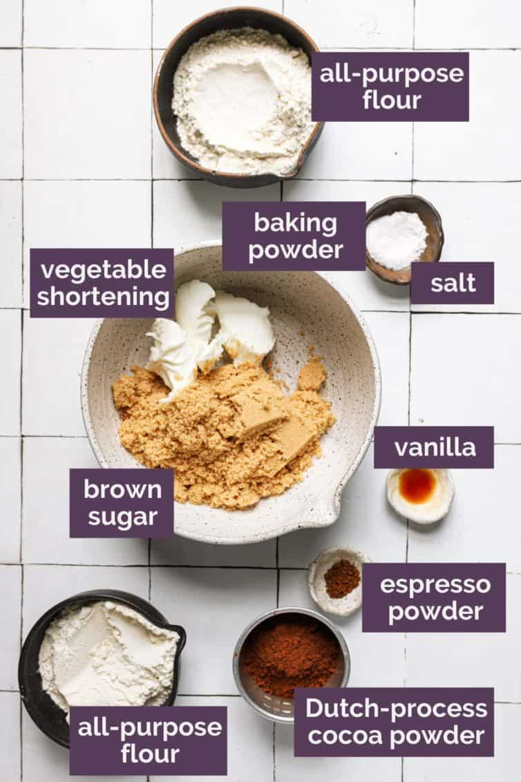 Ingredients for ice cream sandwiches labeled with which ingredients are what.