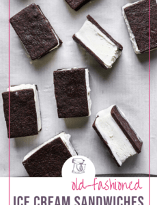 Ice cream sandwiches on a piece of parchment paper with the words Old-Fashioned Ice Cream Sandwiches at the bottom.