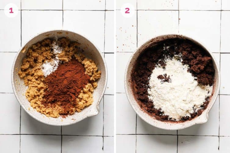 Two side by side photos of how to make the chocolate cookie dough.
