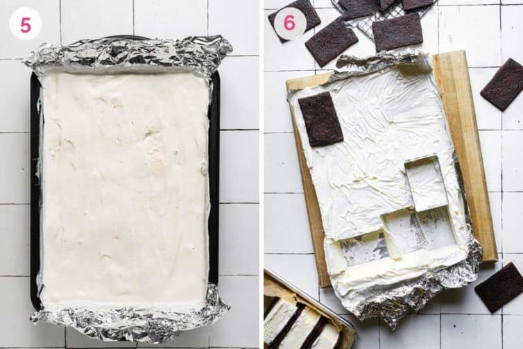 Ice cream freezing in a baking pan on the left and cutting and assembling the ice cream sandwiches on the right.