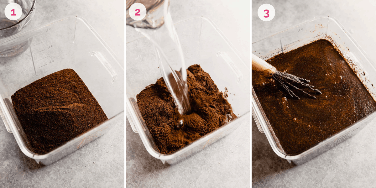 Three side by side photos of the process of brewing the coffee for iced coffee.