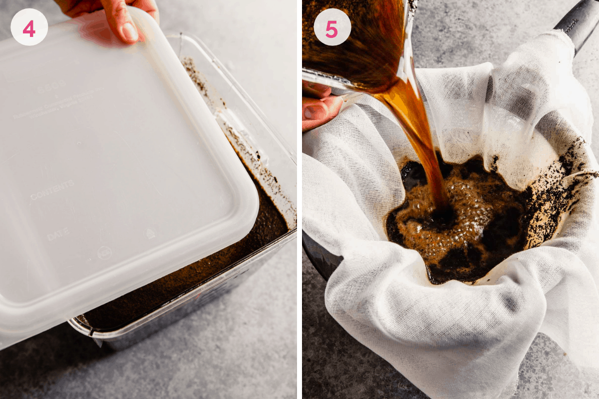 Two side by side photos showing how to strain the coffee after resting.