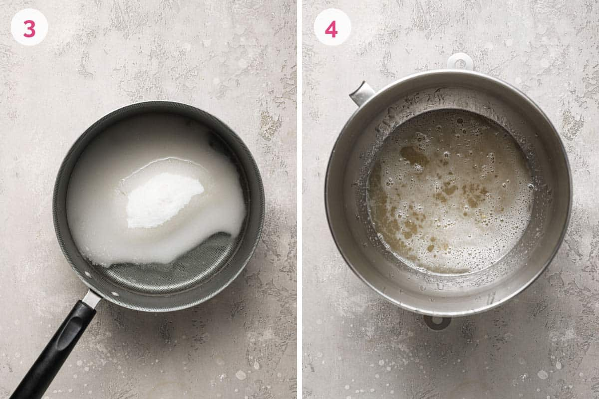 Two side by side pictures of the steps to make marshmallows. The one on the left shows the number 3 with a saucepan and sugar mixed with water. The one on the right shows the number 4 with the hot syrup mixture mixed into the gelatin mixture.