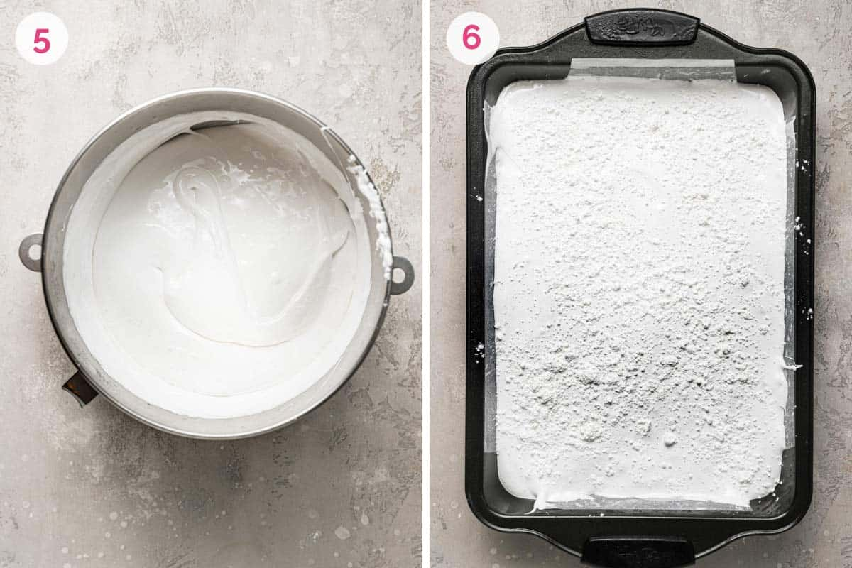 Two side by side pictures of homemade marshmallow prep. The left shows the number 5 and a mixing bowl with marshmallow fluff. The right shows the baking pan with poured marshmallow fluff dusted with powdered sugar.