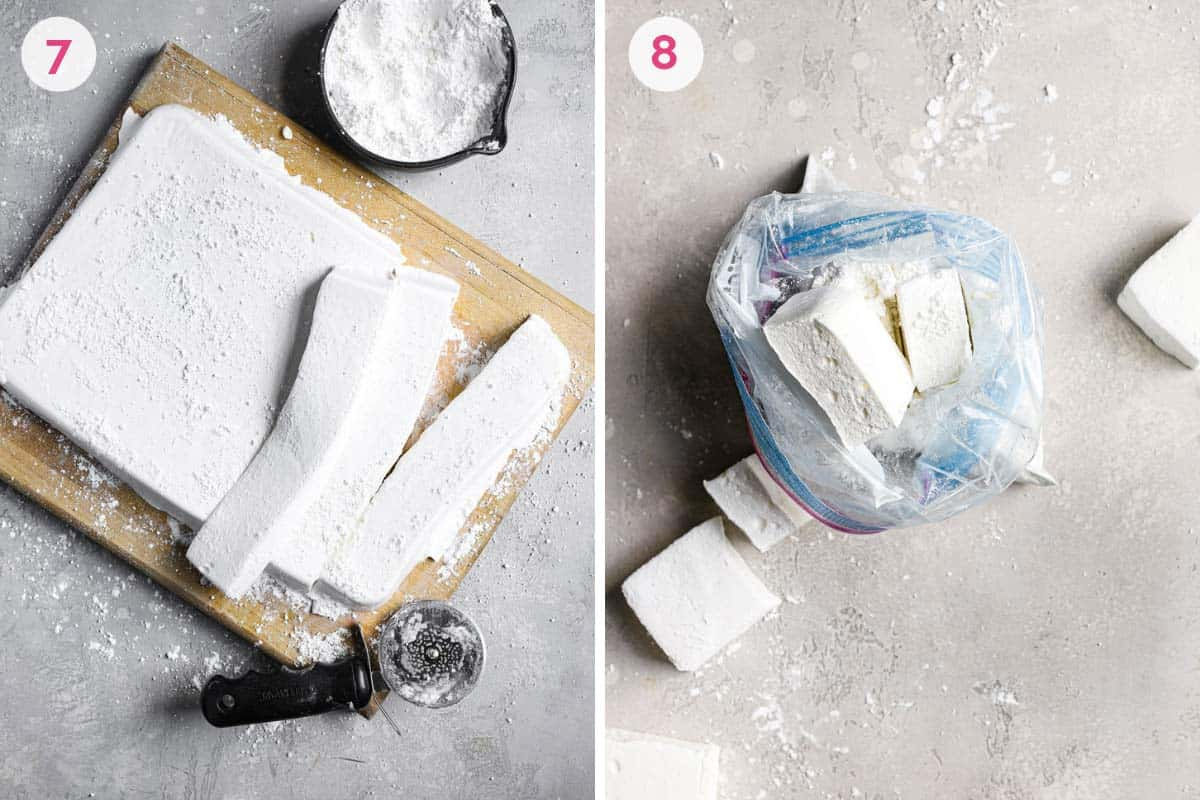 Two side by side photos of the prep for making marshmallows. The left shows the number 7 and a cutting board with homemade marshmallows before cutting with a pizza cutter to the right. The right photo shows the cut marshmallows in the powdered sugar bag being coated in the mixture.