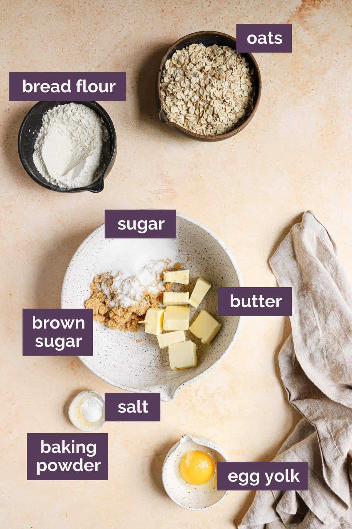 Ingredients for the oat crust labeled with purple labels,