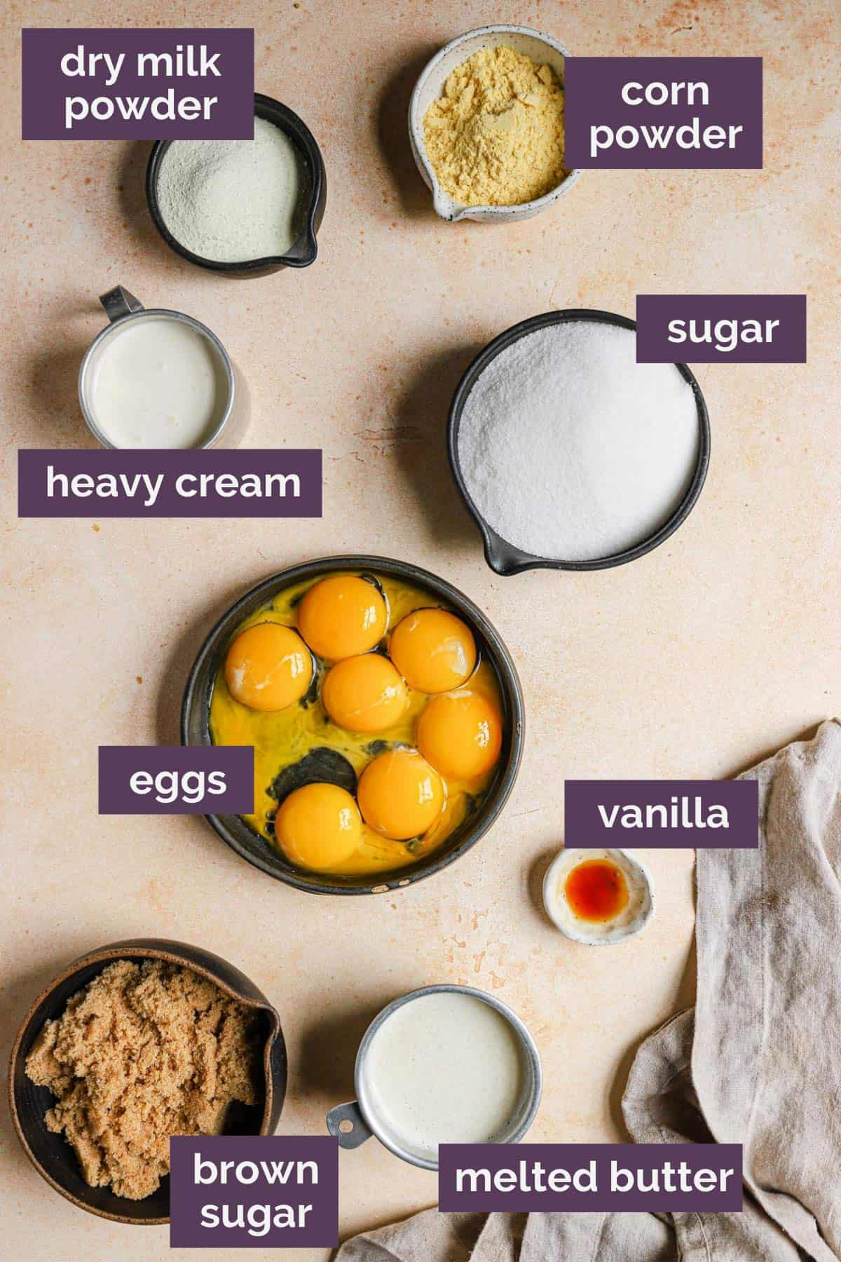Ingredients for crack pie filling in bowls with purple labels naming each ingredient.