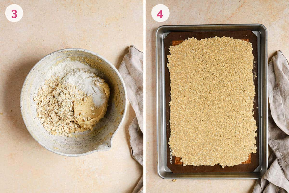 Side by side photos of making the at cookie dough on the left and baking the oat cookie dough on the right.