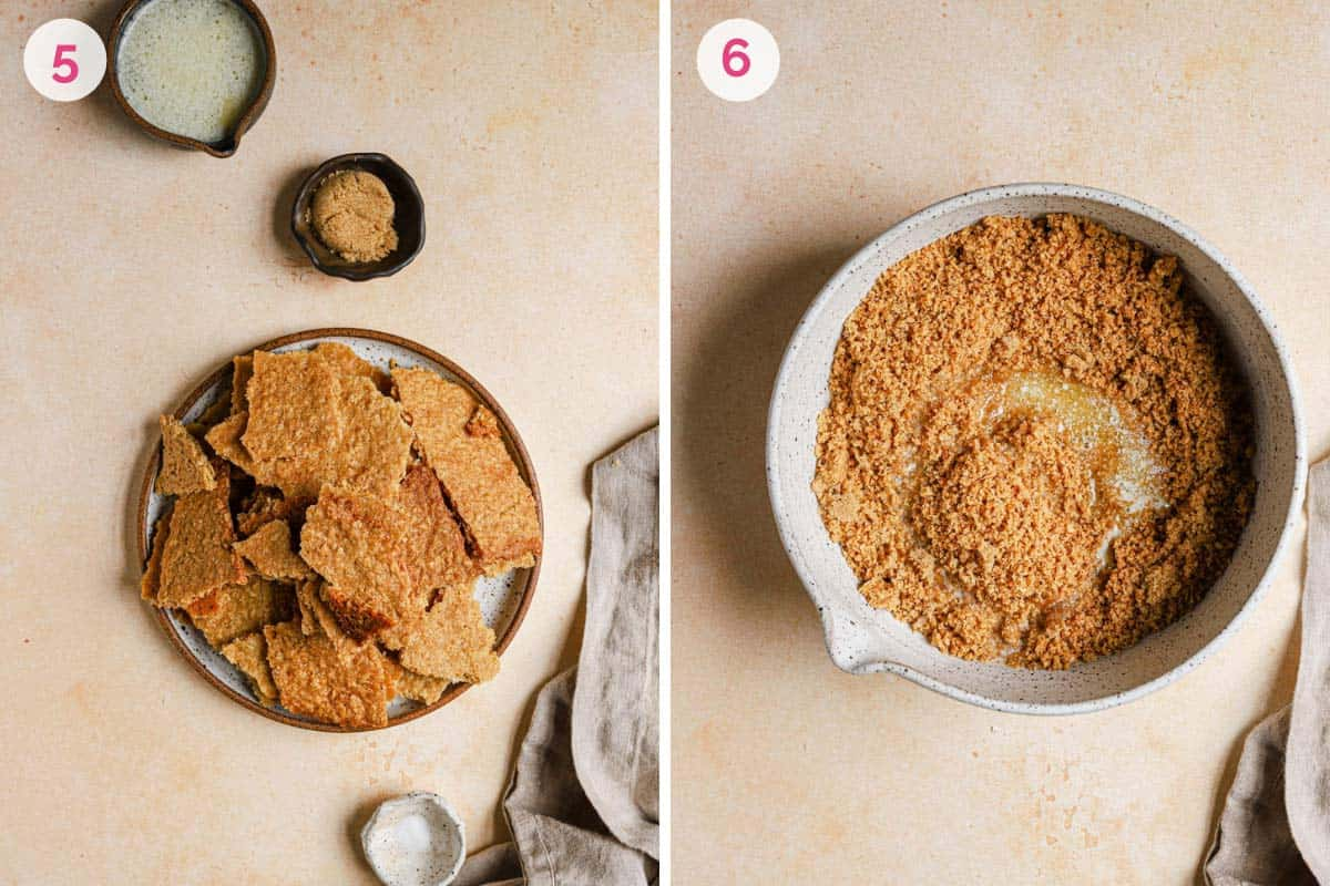 Side by side photos of making the oat cookie crust with the ingredients on the left and the cookie crumble in a bowl on the right.