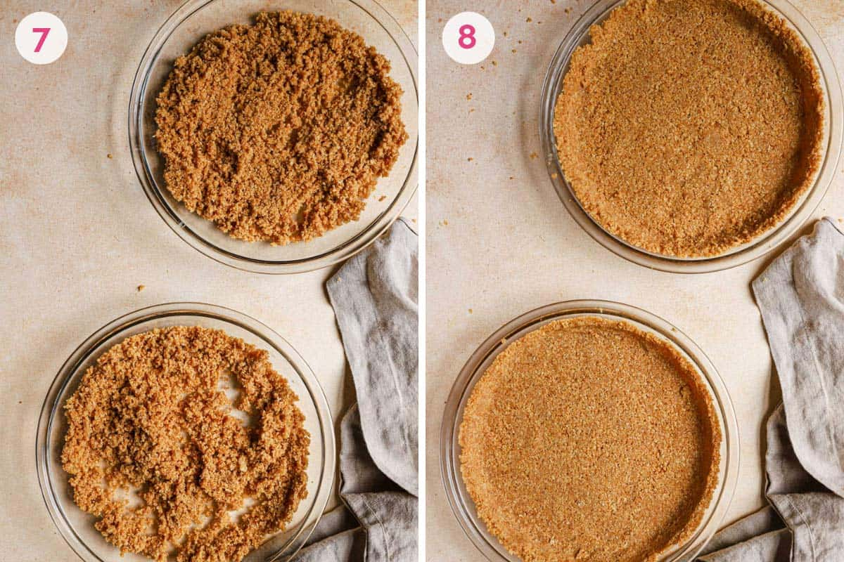 Side by side photos of pressing the oat cookie crust with the crumbs in the pans on the left and pressed oat cookie crusts on the right.