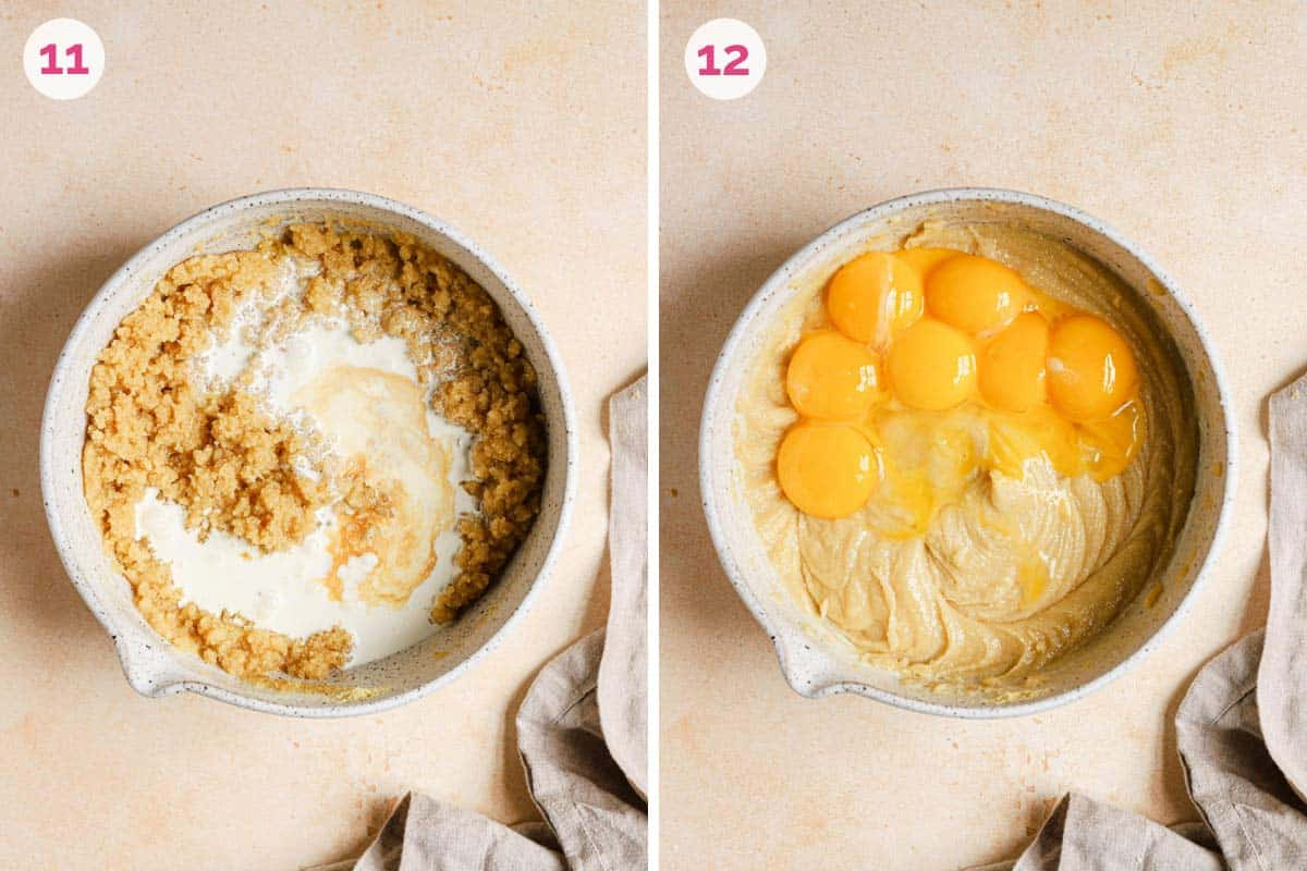 Side by side photos of adding heavy cream on the left and egg yolks on the right for the crack pie filling.