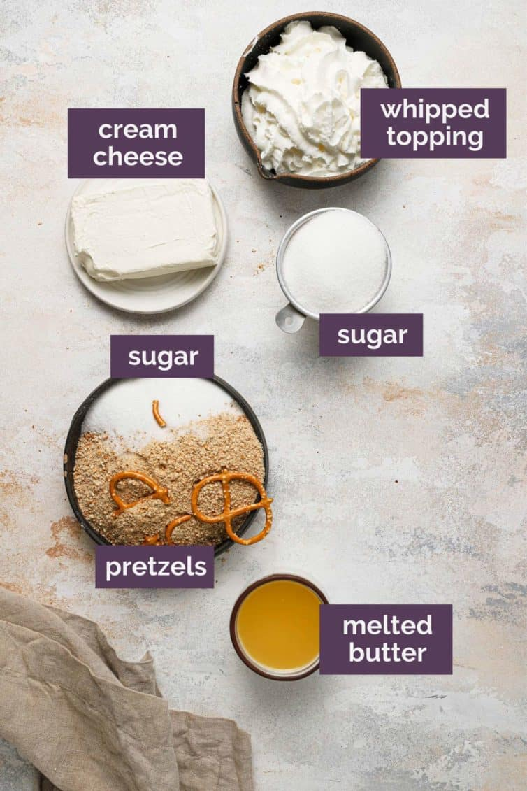 Ingredients for strawberry pretzel salad crust labeled with purple ingredients.