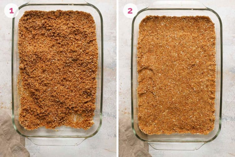 Side by side photos of how to make and press the pretzel crust in a glass baking dish.