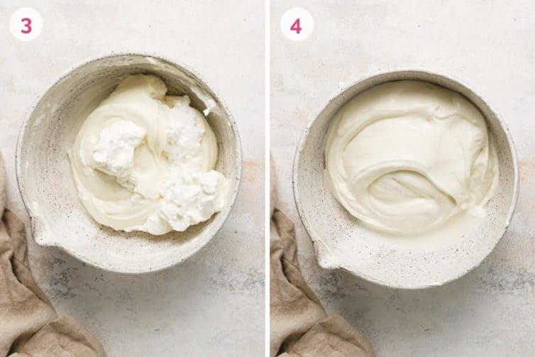 Side by side photos of a mixing bowl showing how to make the cream cheese layer.