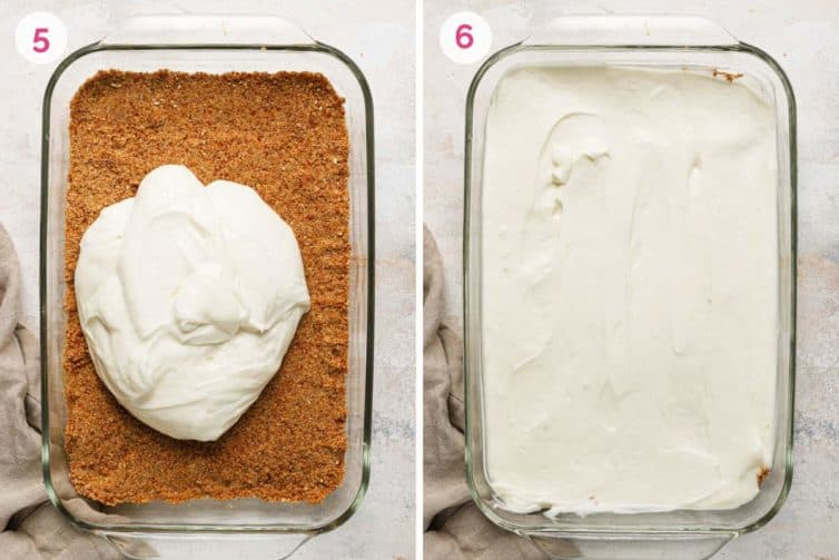 Side by side photos of how to pour and spread the cream cheese layer over the pretzel crust.