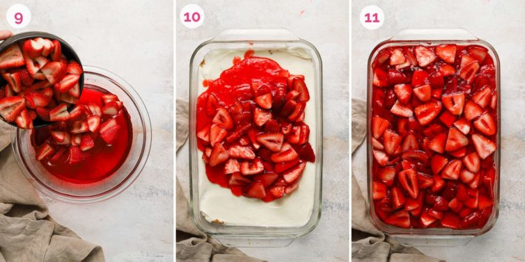 Three side by side photos of how to mix the strawberries into the jello, spreading it over the cream cheese layer, and filling the top with the strawberry layer.