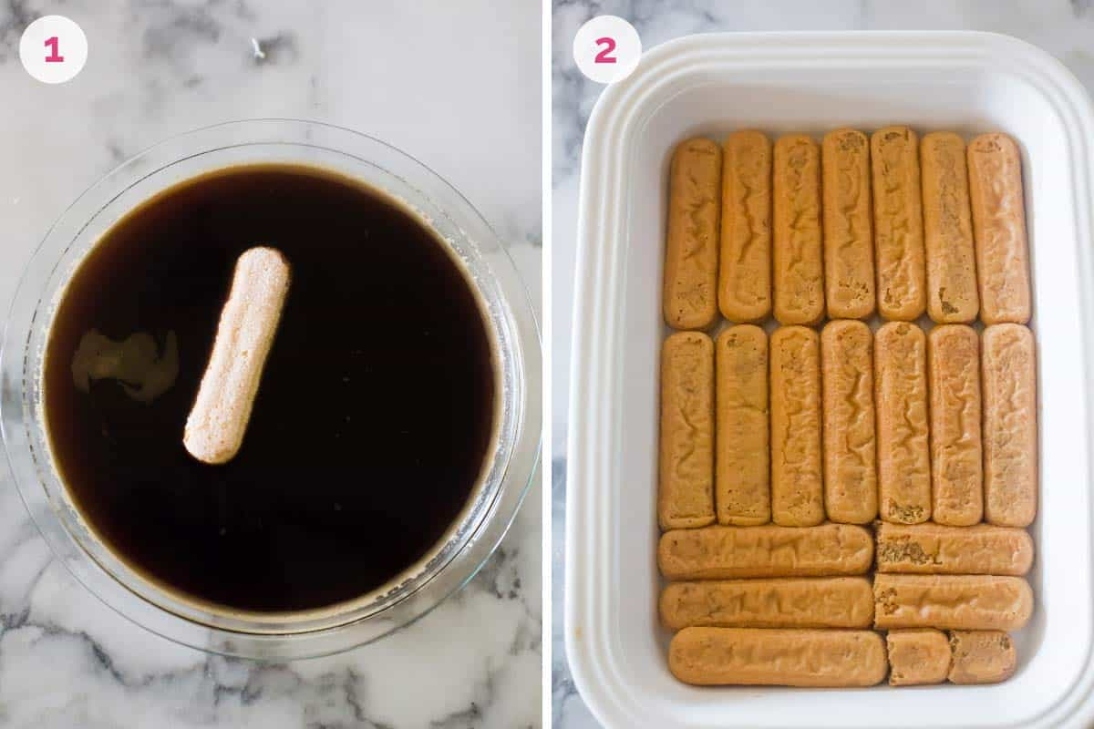 A bowl with the coffee mixture on the left with the number one and a rectangular baking dish on the right with soaked lady fingers and the number 2.