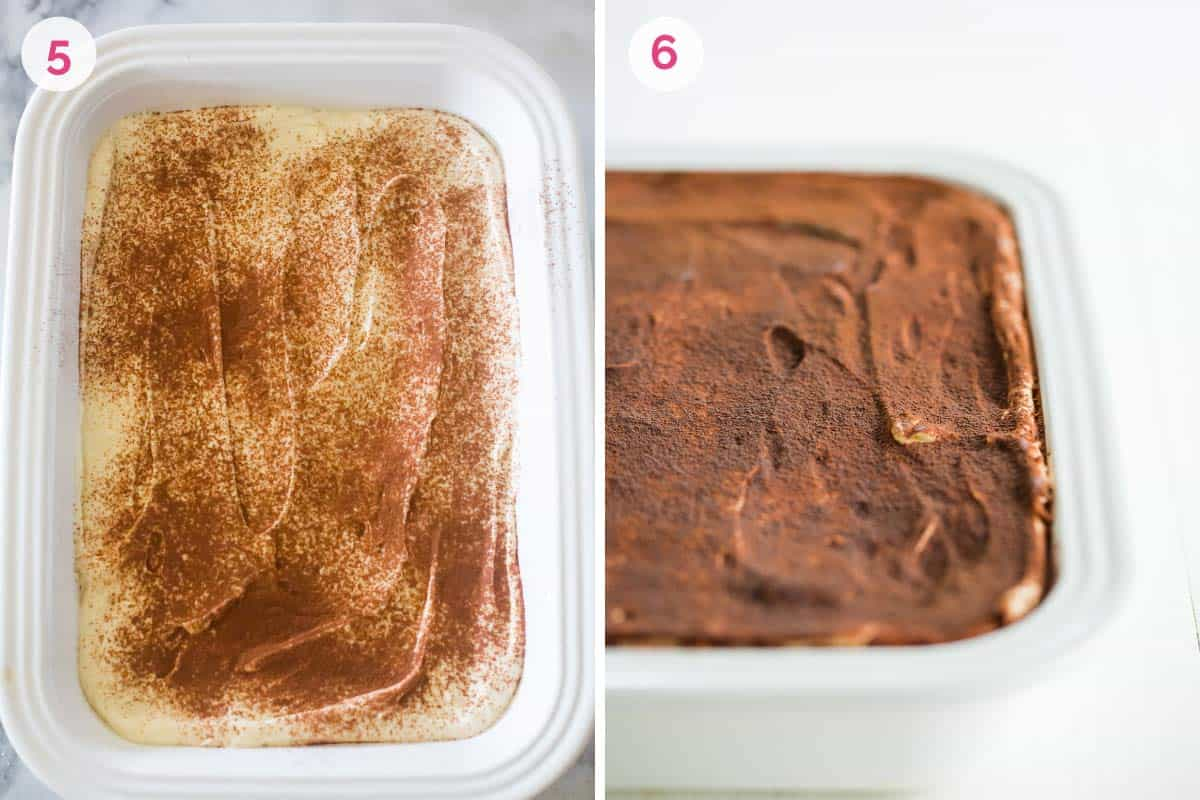 Two side by side photos. The one on the left shows the number 5 and a layer of mascarpone topped with cocoa powder the one on the right shows the number 6 and the finished tiramisu in the dish.