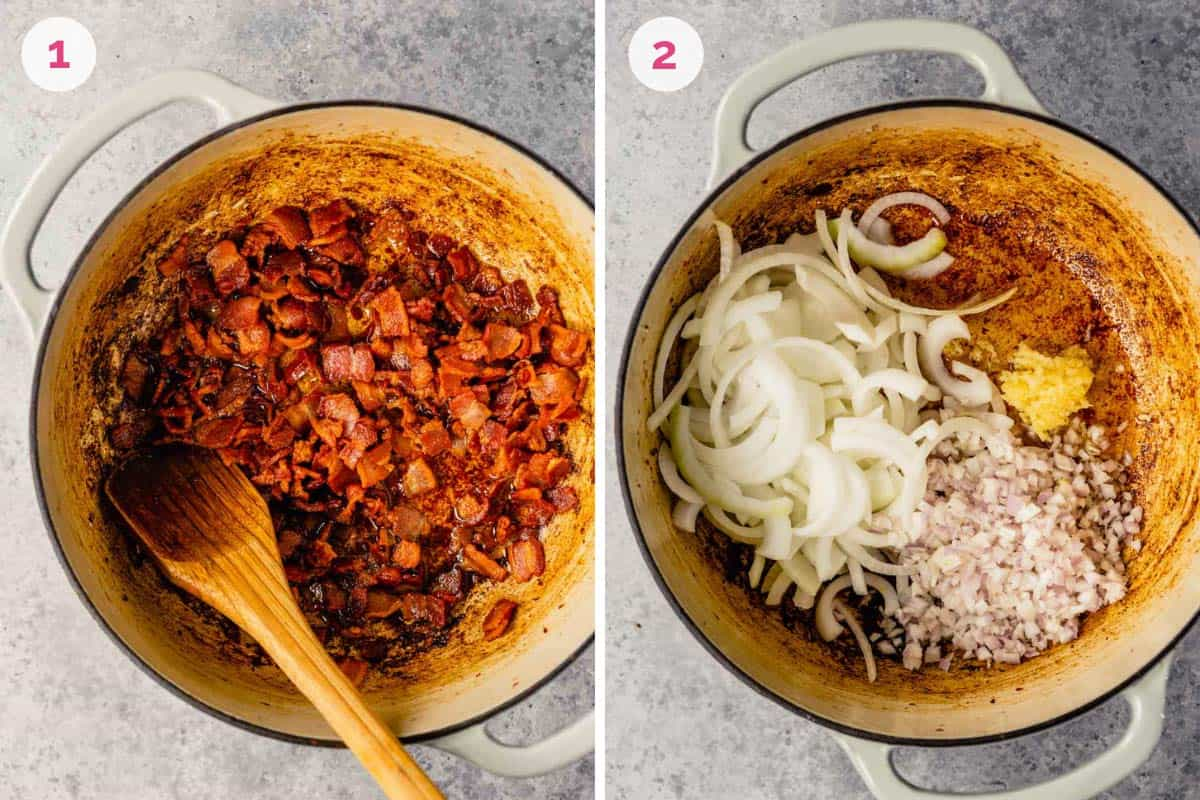Side by side photos of a dutch oven with bacon bits cooking on the left and aromatics cooking on the right.