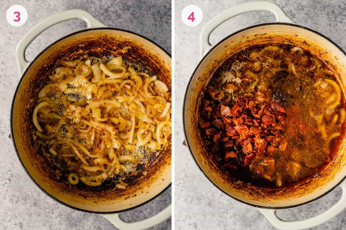 Side by side photos of a dutch oven with the caramelized onions on the left and the bacon added in on the right.