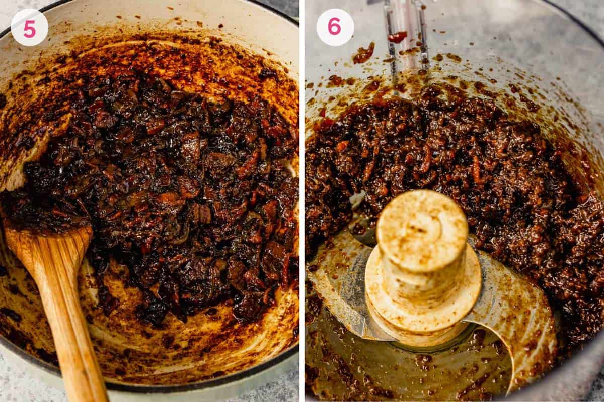 Side by side photos of the finished bacon jam on the left and chopping the bacon jam in a food processor on the right.