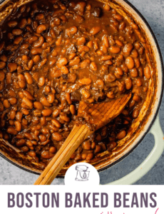 A white dutch oven with baked beans and a wooden spoon with the words Boston Baked Beans with Bacon at the bottom.