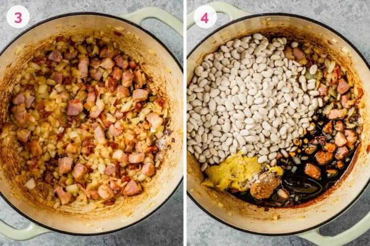 Side by side photos of a white dutch oven with aromatics on the left and all other ingredients added on the right.