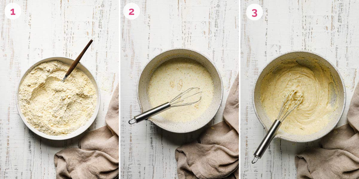 Three side by side photos of the steps for making cornbread muffins.