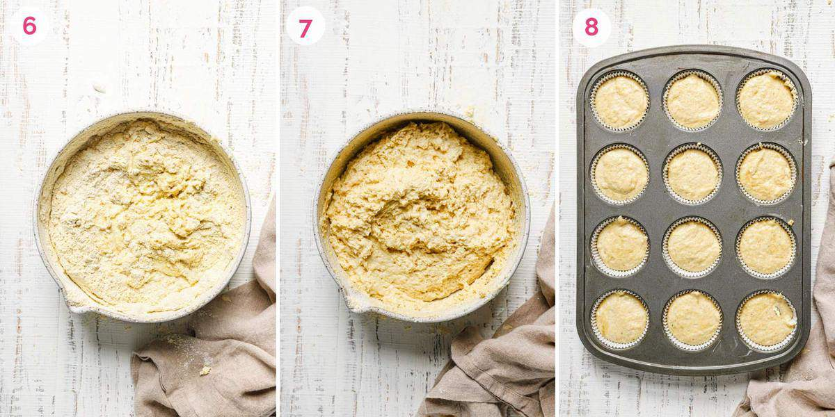 Three side by side photos of the steps for making cornbread muffins with the ingredients in a bowl and unbaked muffins in a tin.
