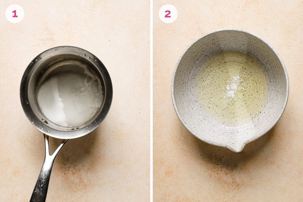 A saucepan on the left with the number 1 in the corner and a mixing bowl with egg whites on the right with the number 2 in the corner.