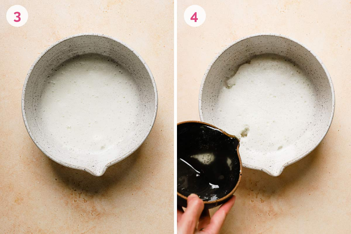 A mixing bowl with stiff egg whites on the left with the number 3 in the corner and a mixing bowl on the right with the boiling sugar being poured in with the number 4 in the corner.