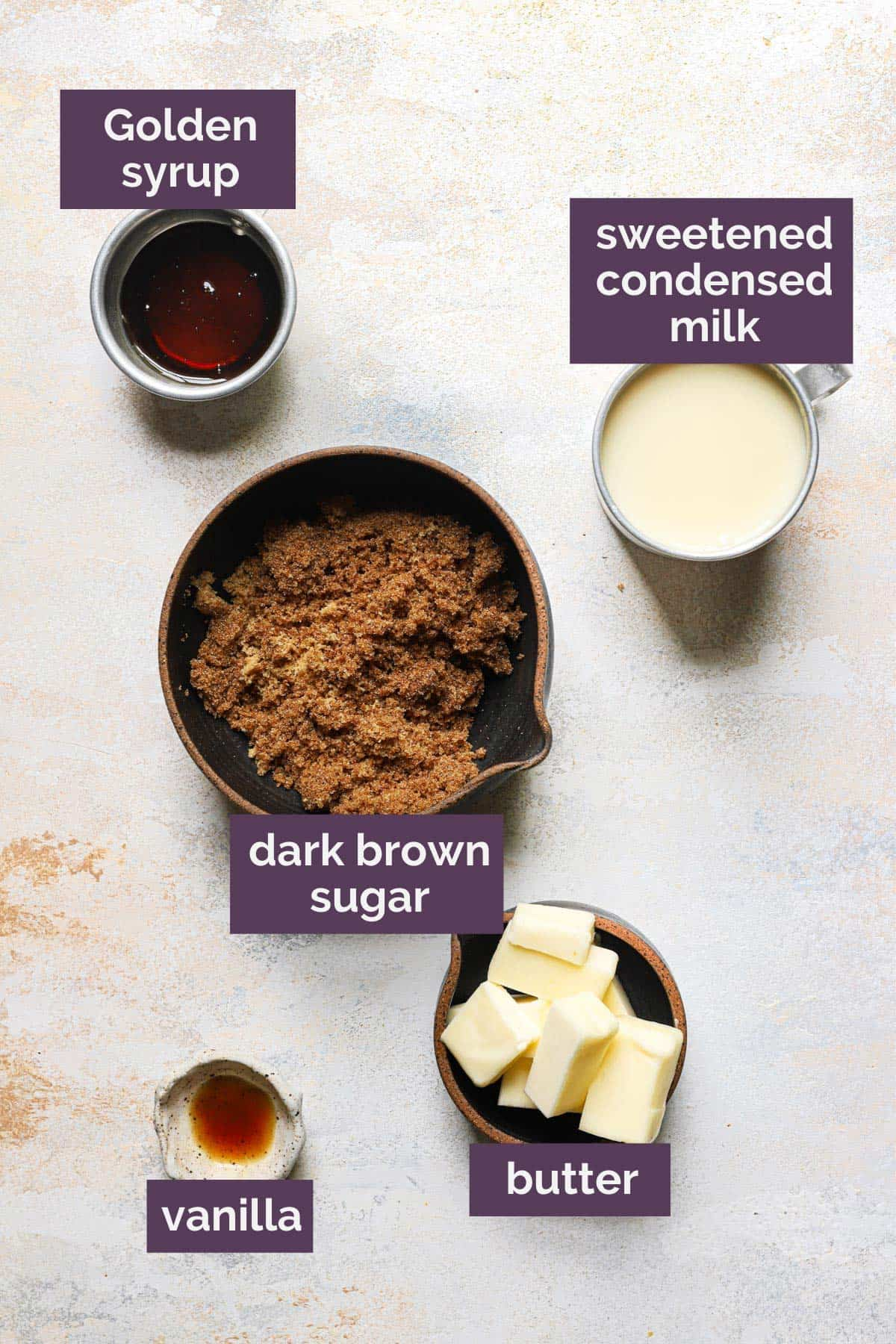 Ingredients for the caramel filling with labels for each ingredient in purple.