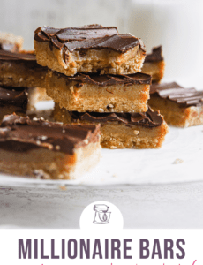 A parchment paper topped with square millionaire bars with the words Millionaire Bars crust, caramel, chocolate at the bottom.
