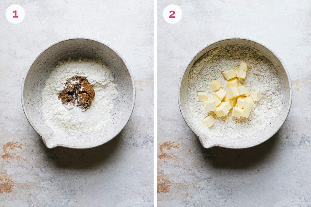 Two side by side photos of the steps for making the crust.