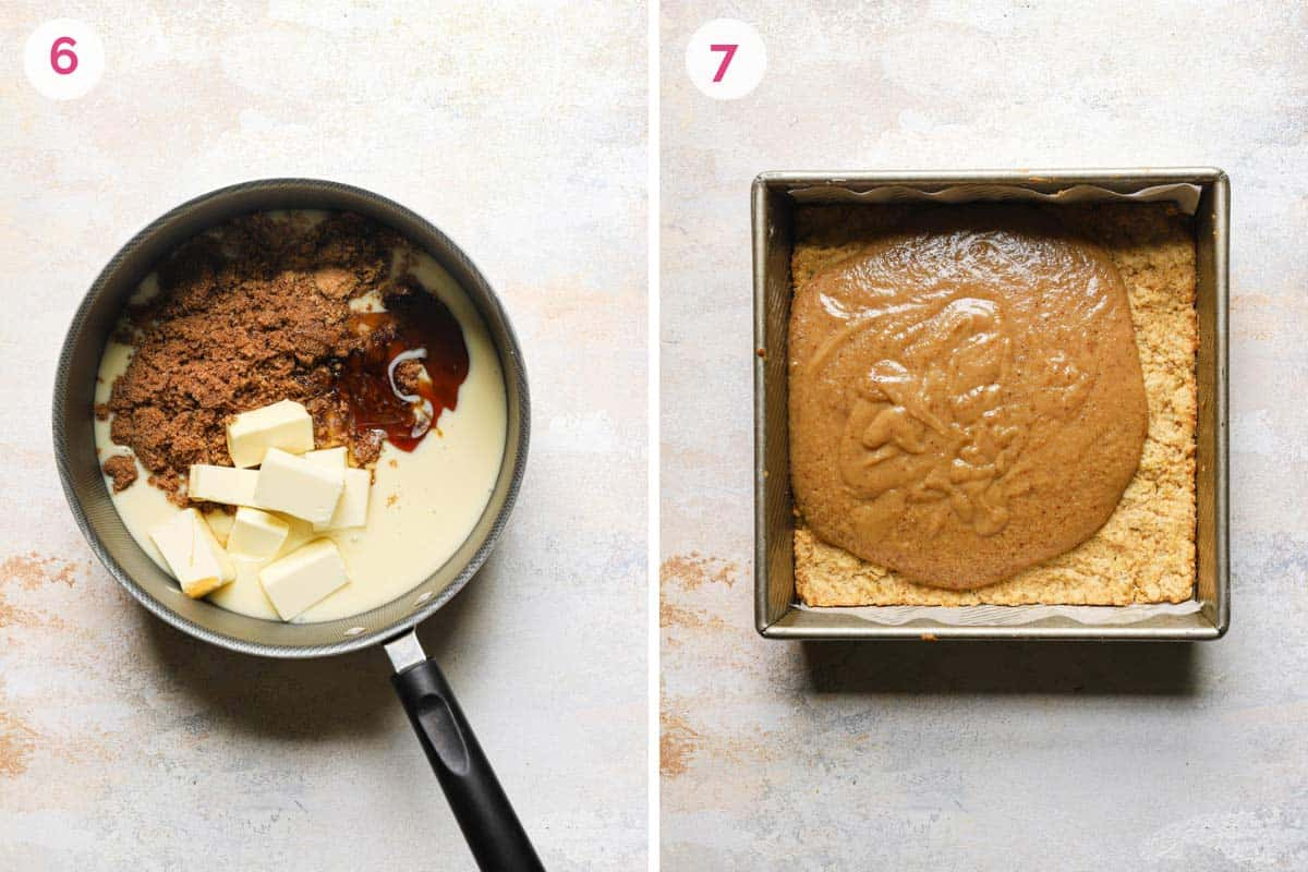 Two side by side photos of the steps for making the caramel sauce with the melting of the sauce in the pan on the left and pouring the sauce on the shortbread on the right.
