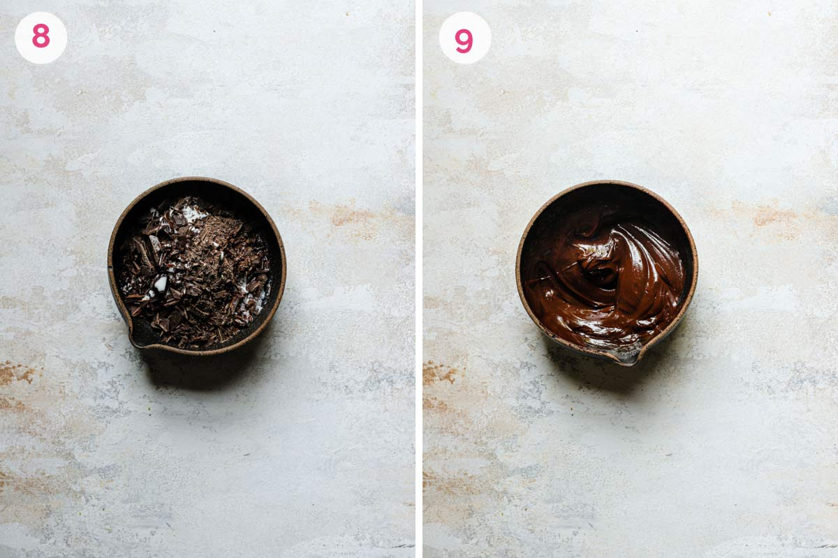 Two side by side photos of how to make the chocolate ganache with the unmelted ganache on the left and the melted ganache on the right.