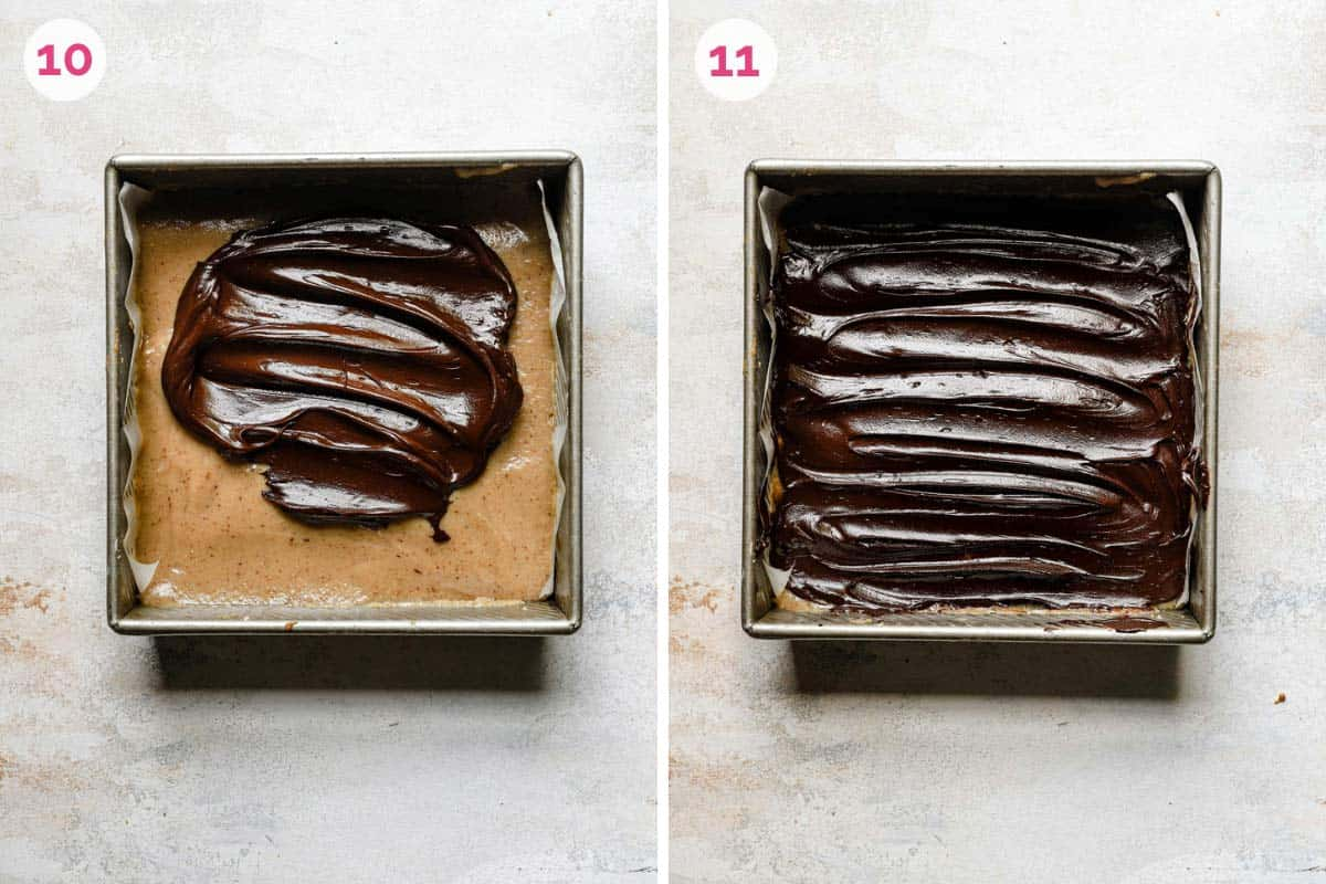 Two side by side photos of topping the millionaire's shortbread with the ganache poured on the left and the ganache spread over the bars on the right.