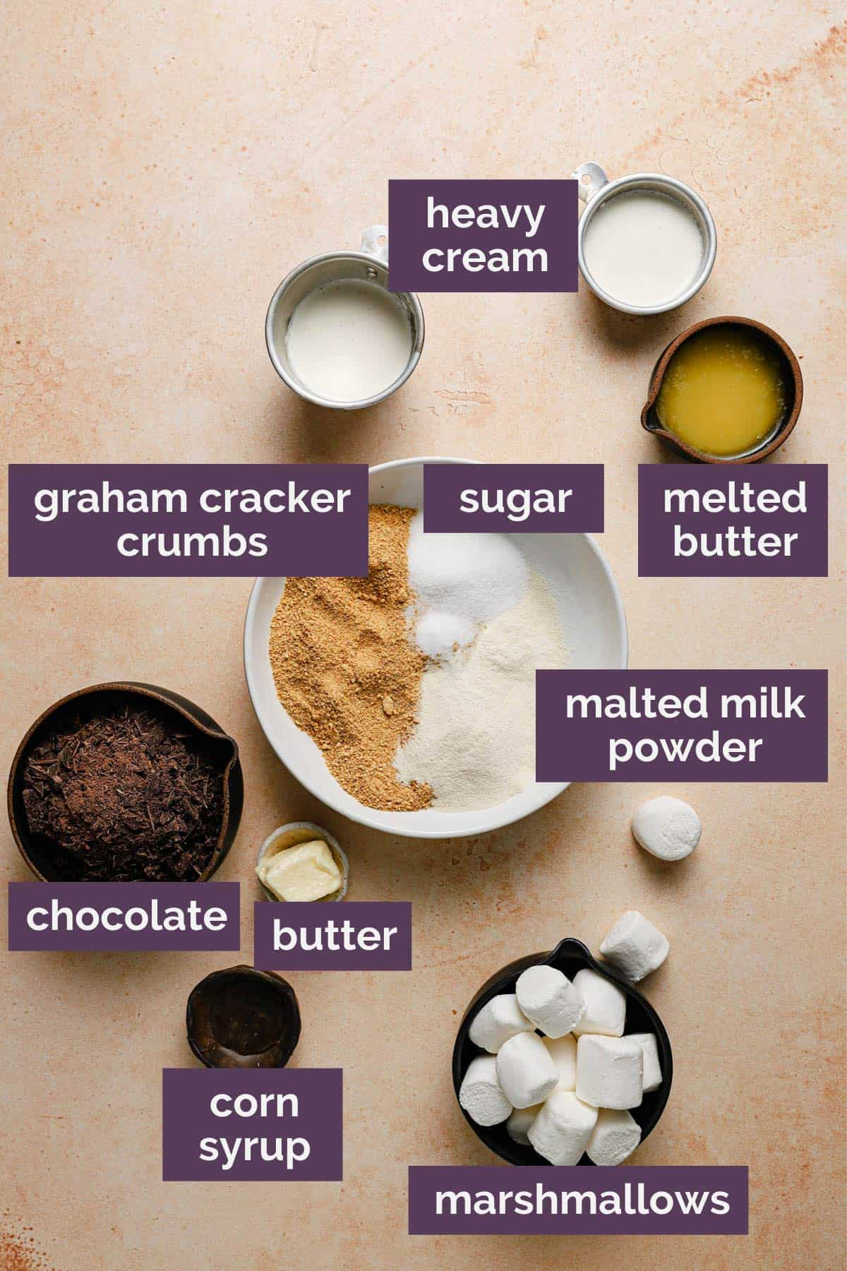 The ingredients for s'mores pie on a peach counter with purple labels for each ingredient.