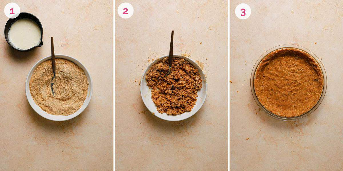 Three side by side photos of the steps for making the graham cracker crust.