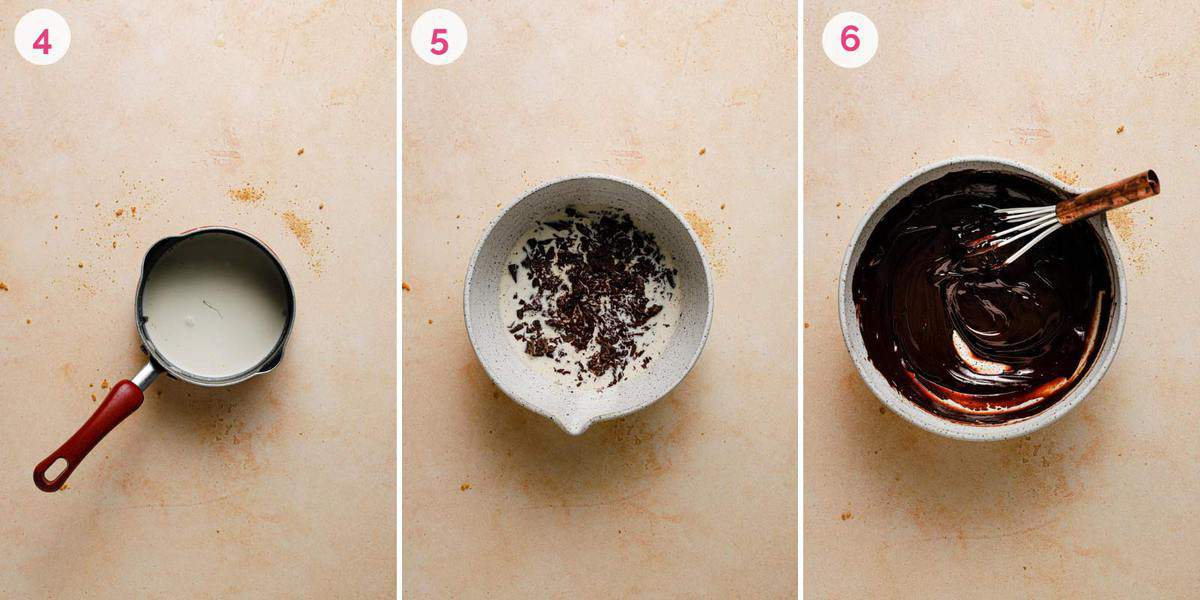 Three side by side photos of making the chocolate ganache filling.
