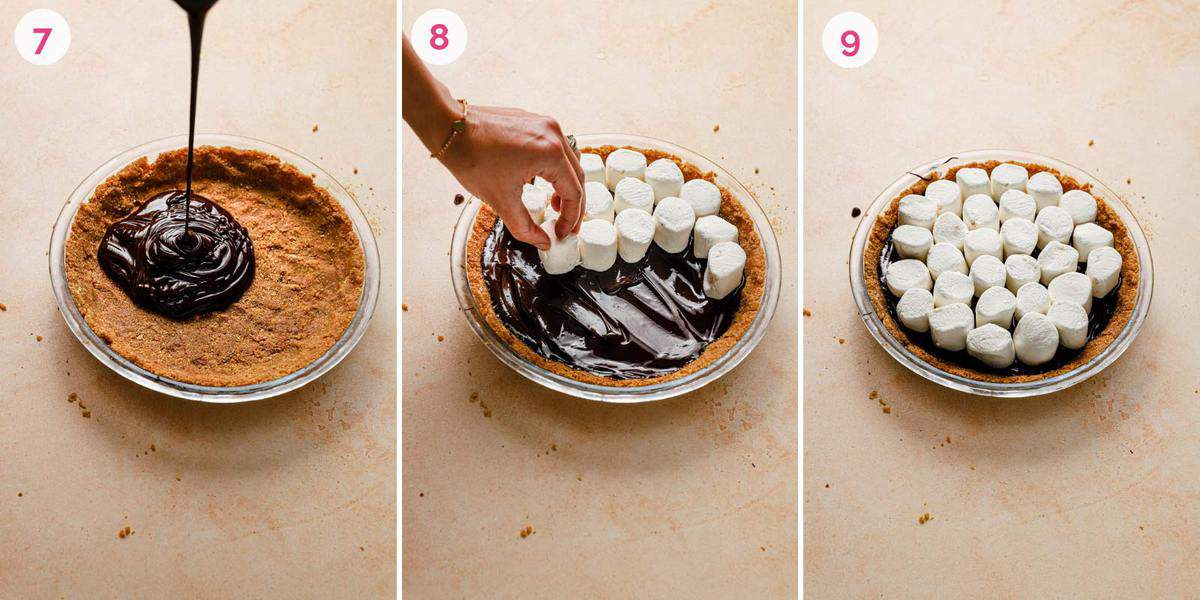 Three side by side photos of assembling the no-bake s'mores pie.